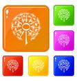 nature dandelion icons set color vector image vector image