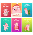 new year cards template celebration funny badges vector image vector image