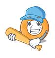 playing baseball onion ring character cartoon vector image