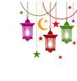 ramadan kareem colorful lanterns in oriental vector image vector image