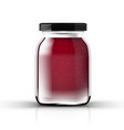 raspberry or strawberry jam in transparent glass vector image