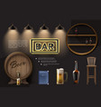 realistic pub elements composition vector image vector image