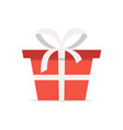 red gift box with white ribbon flat cartoon icon vector image vector image