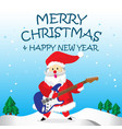 santa play electric guitar and merry christmas vector image