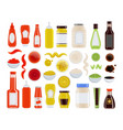 sauce in bottle or plate bowl isolated icon set vector image