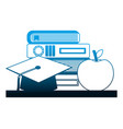 school stack books graduation hat and apple vector image