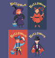 set children halloween costumes vector image