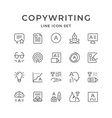 set line icons of copywriting vector image vector image