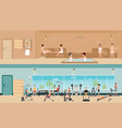 set of people in fitness gym interior with vector image vector image