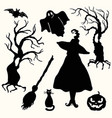 silhouette witch pumpkin lantern ghost trees vector image