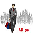 sketch of man with shopping bags vector image vector image