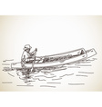 Sketch of small row boat vector image vector image