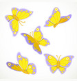 spring butterflies yellow-violet flutter on a vector image