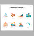 summer elements icon pack vector image vector image