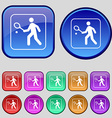 Tennis player icon sign A set of twelve vintage vector image