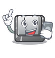 with phone button j installed on cartoon computer vector image vector image