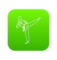 wushu master icon digital green vector image