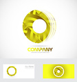 Yellow circle 3d logo vector image vector image