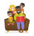father reading a book to multiethnic children vector image