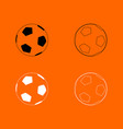 soccer ball black and white set icon vector image