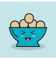 bowl full eggs cartoon isolated icon design vector image