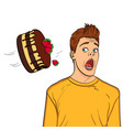 a festive chocolate cake with strawberries flies vector image vector image