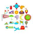airborne icons set cartoon style