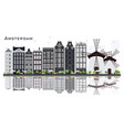 amsterdam holland city skyline with gray vector image