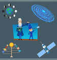 astrology astronomy icons planet science universe vector image vector image