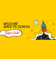 back to school sale with rocket and doodles vector image