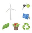 Bio and ecology cartoon icons in set collection