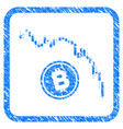 candlestick chart bitcoin fall framed stamp vector image vector image
