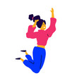 cheerful dancing girl in a pink sweater and blue vector image vector image