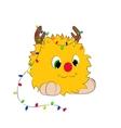 Christmas cartoon character horns garland monster vector image vector image