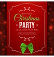 Christmas party poster template with green bow vector image vector image