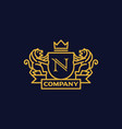 coat arms letter n company vector image vector image