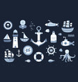 collection of marine elements vector image vector image