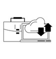 computer cloud transfer and briefcase in black and vector image vector image