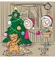Couple decorates Christmas tree Red cat tangled vector image vector image