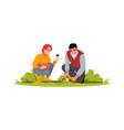 couple pick mushrooms semi flat rgb color vector image