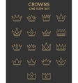 Crown line icon set vector image vector image