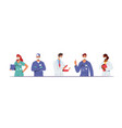 doctor characters in medical robe in row hospital vector image vector image