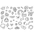 doodle highlight sticker element icon set vector image vector image