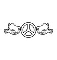 Doves flying with peace symbol isolated icon vector image
