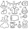 element baby theme of doodles vector image vector image
