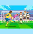 football player kicking penalty vector image vector image