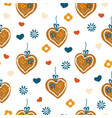 gingerbread heart seamless pattern for oktoberfest vector image