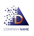 golden letter d logo symbol in blue pixel triangle vector image vector image
