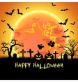 Halloween with tomb and bats vector image