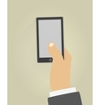 Hand with phone vector image vector image
